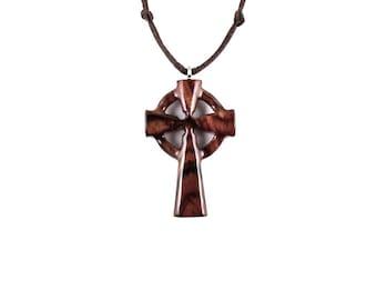 Celtic Cross Pendant, Celtic Cross Necklace, Wood Cross Necklace, Wooden Cross Pendant, Cross Necklace, Christian Jewelry, Hand Carved Cross