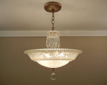 """Vintage Chandelier 1930-40's Antique Cream Pressed Glass & Solid Brass Ceiling Light Fixture Large 15.5"""" Rewired"""