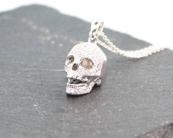 Skull Necklace, Sterling Silver Necklace, Sterling Silver Skull, Skull Pendant, Quirky Necklace, Gothic Necklace, Gothic Gift, Skull Charm