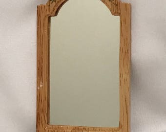 "Dollhouse Miniature 1"" Scale Oak Mirror"