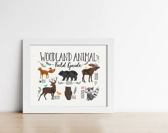 Woodland Nursery Art Print - Animal Field Guide - Chart - Rustic Nursery - Fox - Moose - Bear - Deer - Owl - Raccoon - Landscape - SKU:58