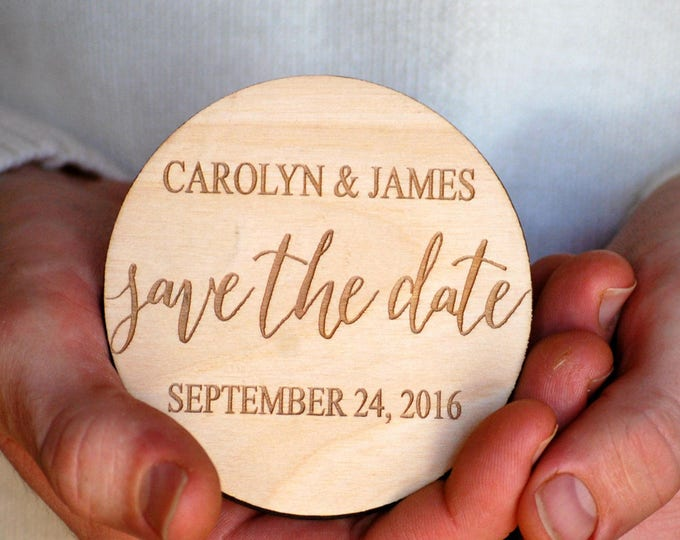 Featured listing image: Calligraphy Save the Date, Save the Date Wedding, Modern Save the Date, Save the Date Magnet, Wooden Save the Date, Simple Save the Date