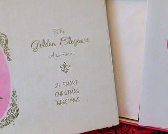 Vintage Golden Elegance Assortment  Christmas Greeting Cards Box of 13 Unused in original box