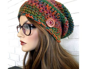 Colorful Slouchy Hat, Muti-colors, Handmade Hat, Winter Slouchy Hat, Knit  Hat, Slouchy Beanie, Gift for Teens or Women, Ready to ship
