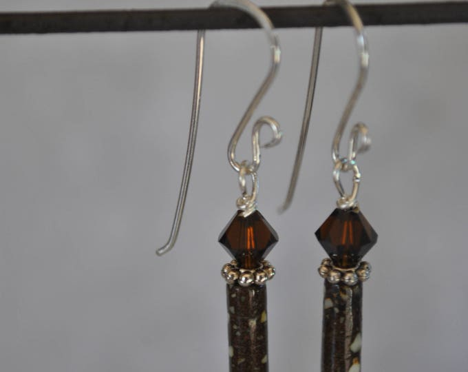 Michigan copper fire brick earrings with crystals, sterling silver beads, Up North, handcrafted jewelry