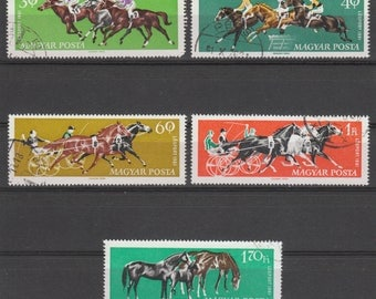 Horse Racing Postage Stamps - 1961 - Hungary - Decoupage, Altered Art, Collage, Cardmaking, Mixed Media
