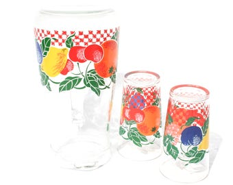 Retro Fruit Juice Glasses Set French Glass Jug Mid Century Glassware Set of Two Made in France
