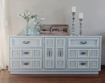 SOLD ***** Gorgeous Ornate Hand-painted Sideboard/Buffet/Dresser - Antique White