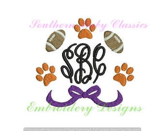 Tiger Paw Football Circle Frame Design File for Embroidery Machine Monogram Instant Download Football