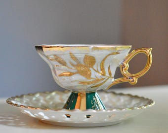 Tea Cup and Saucer, Royal Sealy Japan, Reticulated, Iridescent, Green and Gold