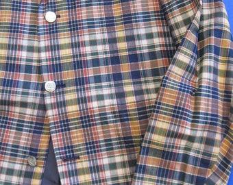 RESERVED Madras plaid jacket, 1950s-60s vintage cotton blazer, Trimingham's, Bermuda, size 40 (medium)