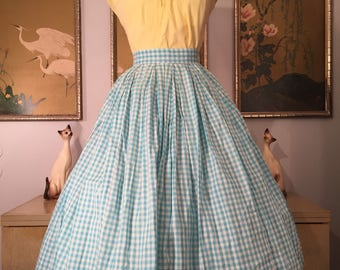 1950s Vintage Blue Gingham Skirt -- Lovely but in Need of TLC