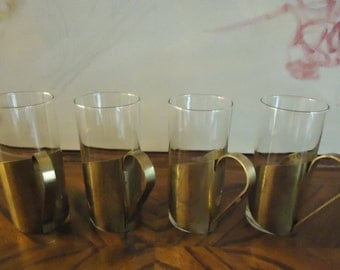 Vintage Danish Modern Scanmalay Brass Irish Coffee Cups, Hotty Toddy Cups . Set of 4 Mugs