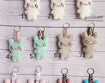 Tiny bunny keychains- plush bunny- for Easter- Softy- Cute bunny - Pocket bunny- keychains- Present