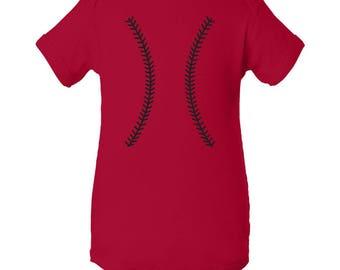 Baseball Team Colors Creeper - Red/Black