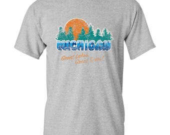 Great Lakes Great Times Michigan Basic Cotton T Shirt
