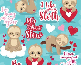 80% OFF SALE Valentine sloths clipart commercial use, clipart, vector graphics, digital clip art - CL1125