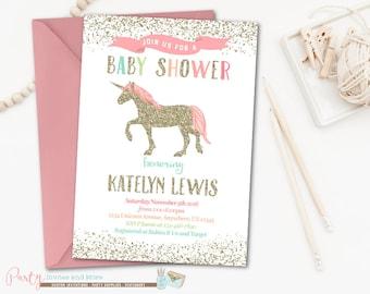 Unicorn Baby Shower Invitation, Rainbow Baby Shower Invitation, Unicorn Baby Shower, Unicorn Invitation, Rainbow Unicorn Baby Shower