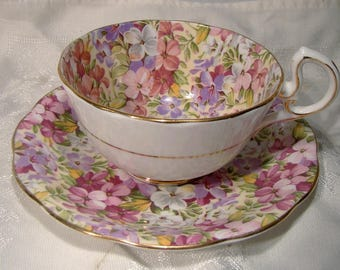 Royal Standard Virginia Stock Chintz Floral Cup and Saucer