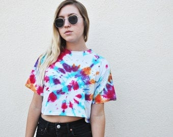 Tie Dye Upcycled Holey Crop Tee