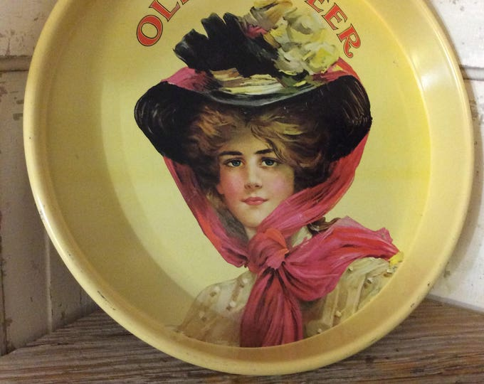 Vintage from the 70's Olympia beer tray with Victorian style lady, super cool yellow vintage beer serving tray from Olympia beer, man cave