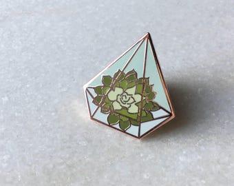 Terrarium w/ Succulents Hard Enamel Pin, Cloisonné,  Lapel Pin, Flair, Brooch, Collar Pin, Hat Pin