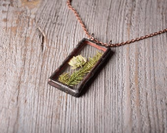 rectangle necklace, old tin jewejry, pressed flower glass necklace, Romantic gift, Nature jewelry, copper pendant