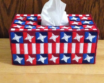 Plastic Canvas Tissue Box Cover Star - Spangled, Patriotic Decor, 4th of July, Holiday Tissue Holder, Red White and Blue, Needlepoint Canvas