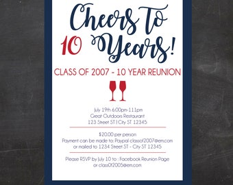 Custom Printable High School Reunion, Class Reunion, College Reunion Invitation - Cheers  - Pick your school colors