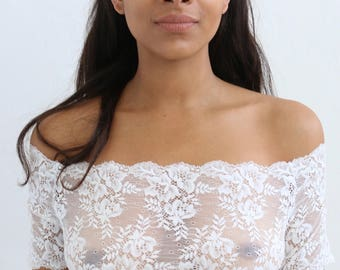 Pretty white lace off the shoulder crop top floral lace crop bridal top handmade lingerie from Brighton Lace