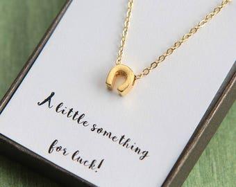 Graduation Necklace, Graduation gift, Horseshoe Necklace, Tiny Horseshoe Necklace, Horse Shoe Necklace, Lucky Horseshoe Necklace for her