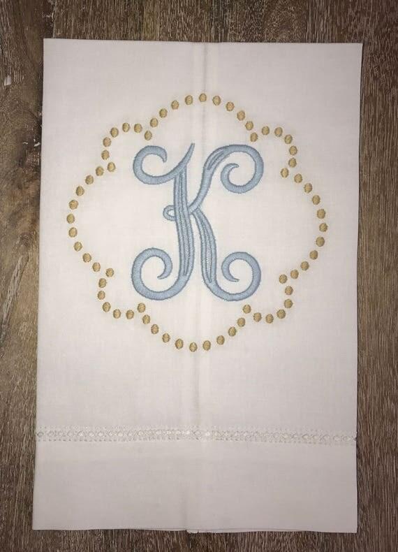Custom Monogrammed Linen Hand Towel
