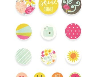 Simple Stories Sunshine and Happiness Self-Adhesive Bradz for Scrapbook/Cards/Paper Crafts