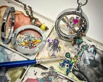 Overwatch Support - Hand-painted watercolor locket charms