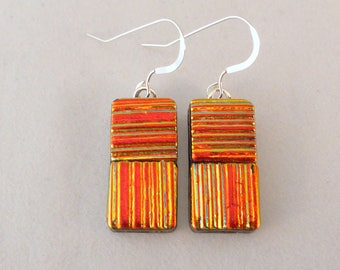 Orange Gold Dichroic Fused Glass Dangle Earrings, Fused Glass, Fused Glass Earrings, Glass Earrings, Dichroic Earrings, Orange, Dangle