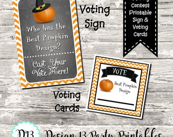 INSTANT DOWNLOAD Pumpkin Carving Contest Voting Cards and Sign Digital Printable