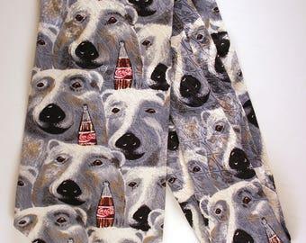 Coca-Cola Polar Bear Vintage Tie/ Vintage clothing/ Coke/ Winter/ Coca Cola