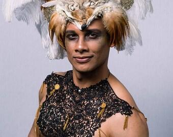 WHITE COYOTE HEADDRESS, Feather Headdress, Real Fur, Male Headdress, Big Headdress, Natural Headdress, Animal Headdress, Burning Man