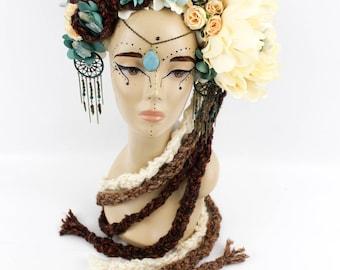 FLOWER NATURE HEADDRESS, Dreamcatcher Headpiece, Headpiece, Headdress, Ivory Headdress, Ivory Headpiece, Turquoise Pendant, Nature Headdress
