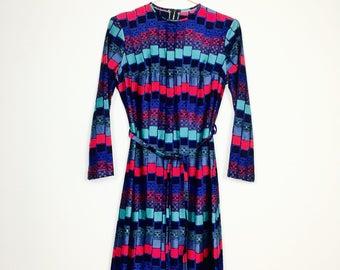 Anel long sleeve dress, vintage, 70s, geometric pattern, M