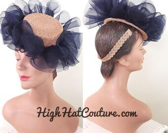 RESERVED 4 W / Vintage 1940s Hat / Topper / Straw / Ruffles