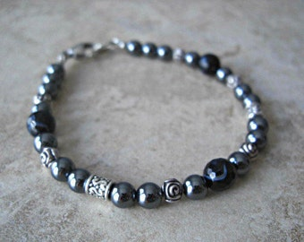 Hematite, Faceted Black Lace Agate, Silver Accents Men's Bracelet, Gift for him