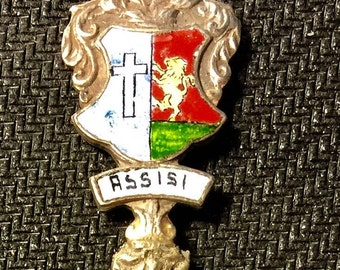 Collectible Spoon Souvenir Assisi with enameled artwork on spoon