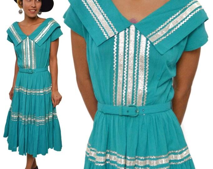 Vintage 50s Miss Virginia Frocks Dallas Swing Rockabilly Dress with Belt