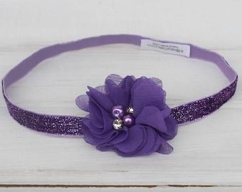 Newborn Purple Headband, Purple Flower Headband, Pearl Flower Headband, Purple Headband, Purple Headpiece, Infant Headband, Newborn Headband