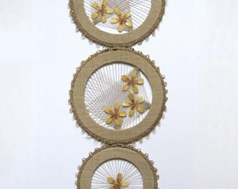 Vintage Macrame Art Wall Hanging with Straw Marquetry Flowers - Modern String Art - Linen Fiber Art Natural Jute Tassel Lithuanian Folk Art