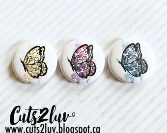 """3 Badges 1"""" Papillons aquarelle multicolors"""