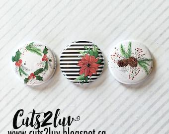 "3 buttons 1 ""Poinsettia"
