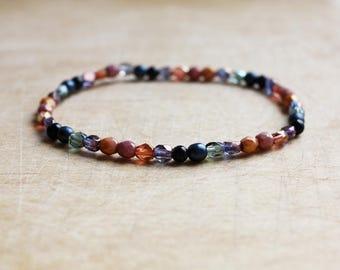 Rose Pink & Navy Beaded Bracelet - Boho Beaded Bracelet - Bohemian Jewellery