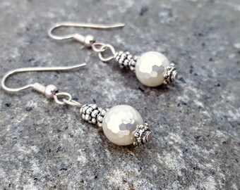 Faceted South Sea Shell Pearl Pierced Earrings